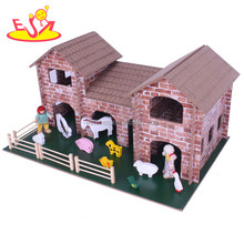 wholesale high quality baby wooden toy farm set hot sale kids wooden toy farm set W06A123
