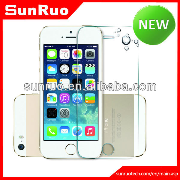 NEWEST IN 2013! 0.15MM ultra thin super transparency 9H hardness tempered glass screen film for iphone5S,China Manufaturer, OEM