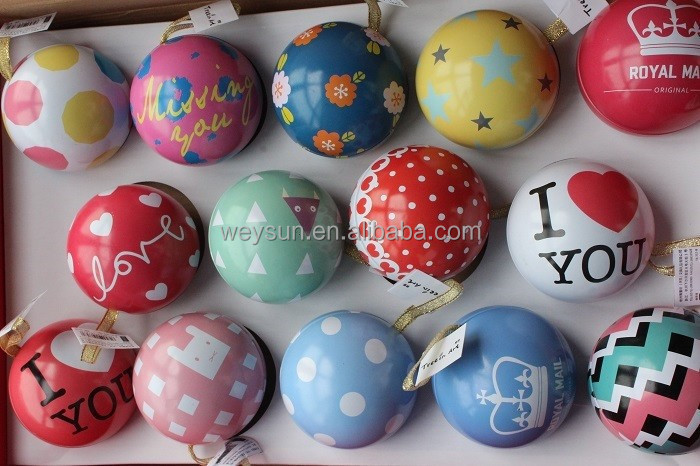 Colorful Christmas Tin plate Ball Ornaments Metal Fashion Gift Christmas Decorations for Trees