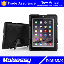 New arrival smart case for ipad 2 rugged heavy duty 9.7inch tablet silicone case with kickstand