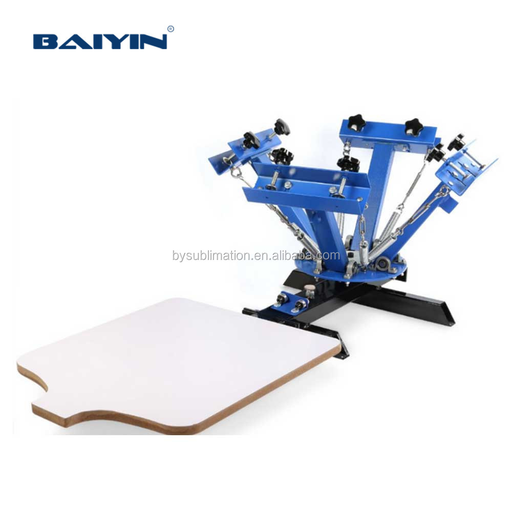 BY-SY401 4 Color 1 Station Screen Printing Press machine Silk screen T-Shirt clothes printer