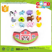 Develops Baby's Fine Motor Skills Stack Fun Farm Animal Shapes Wooden Stacking Blocks