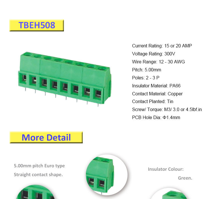 5 0mm Pitch Pa66 Euro Terminal Block With High Quality