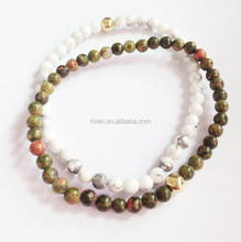 SN0146 4MM Natural White Turquoise Unakite Stone Bracelet set Handmade Stretch bracelet men