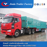 bulk cargo transport fence truck trailer , 3 axle fence semi trailer for sale