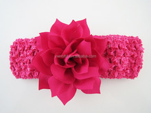 New arrival pretty flowers infant headbands with 4 cm knitd headband