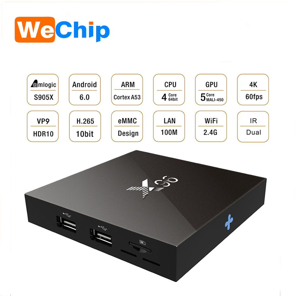 High tech X96 Original Android TV Box 2 GB DDR3 de 16 GB EMMC wifi Android 6.0 Amlogic S905X 4 K Full HD android 6.0 tv caixa
