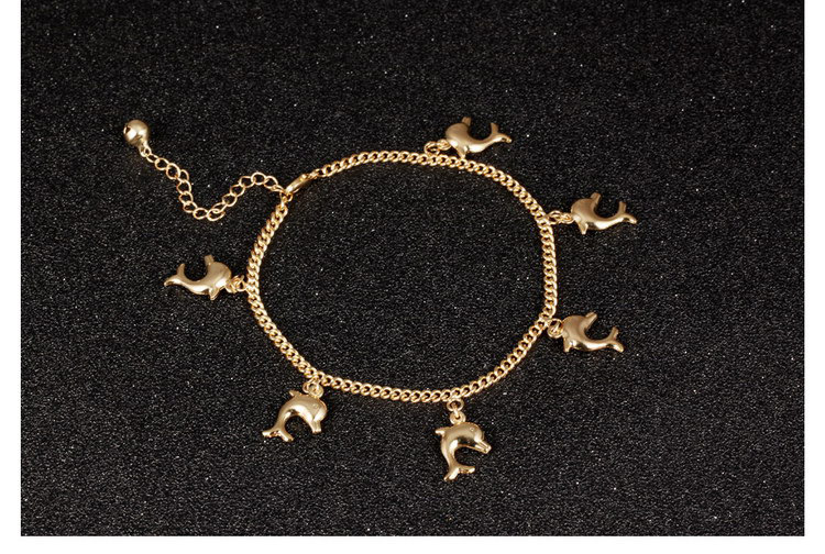 18K gold electronic dolphin ladies anklet girls foot chain anklet
