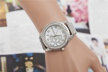 couples quartz alloy crystal watch fashion steel-band women watch