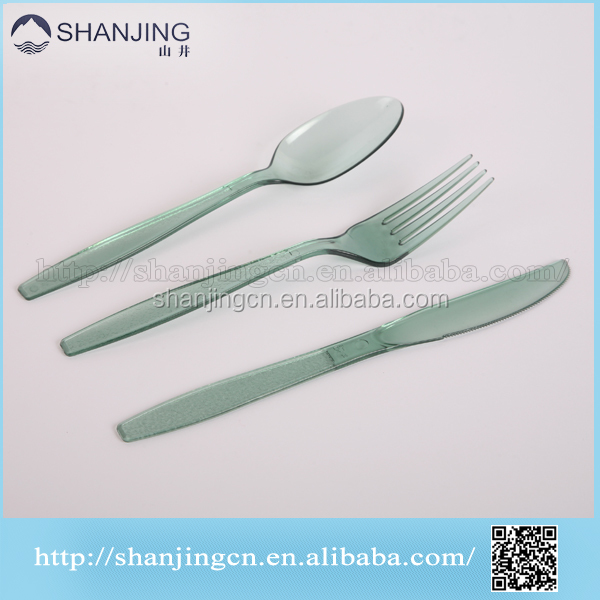Hot sale and high quality most popular beautiful hard plastic disposable cutlery set with napkin spoon knife and fork