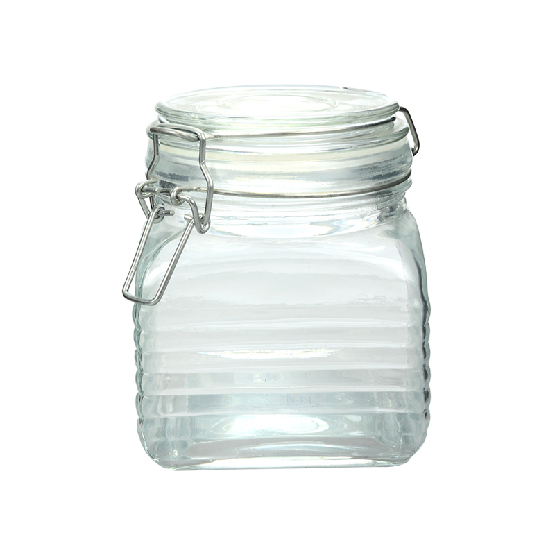 Wholesale 450ml square glass food container storage jar with iron clip and lids