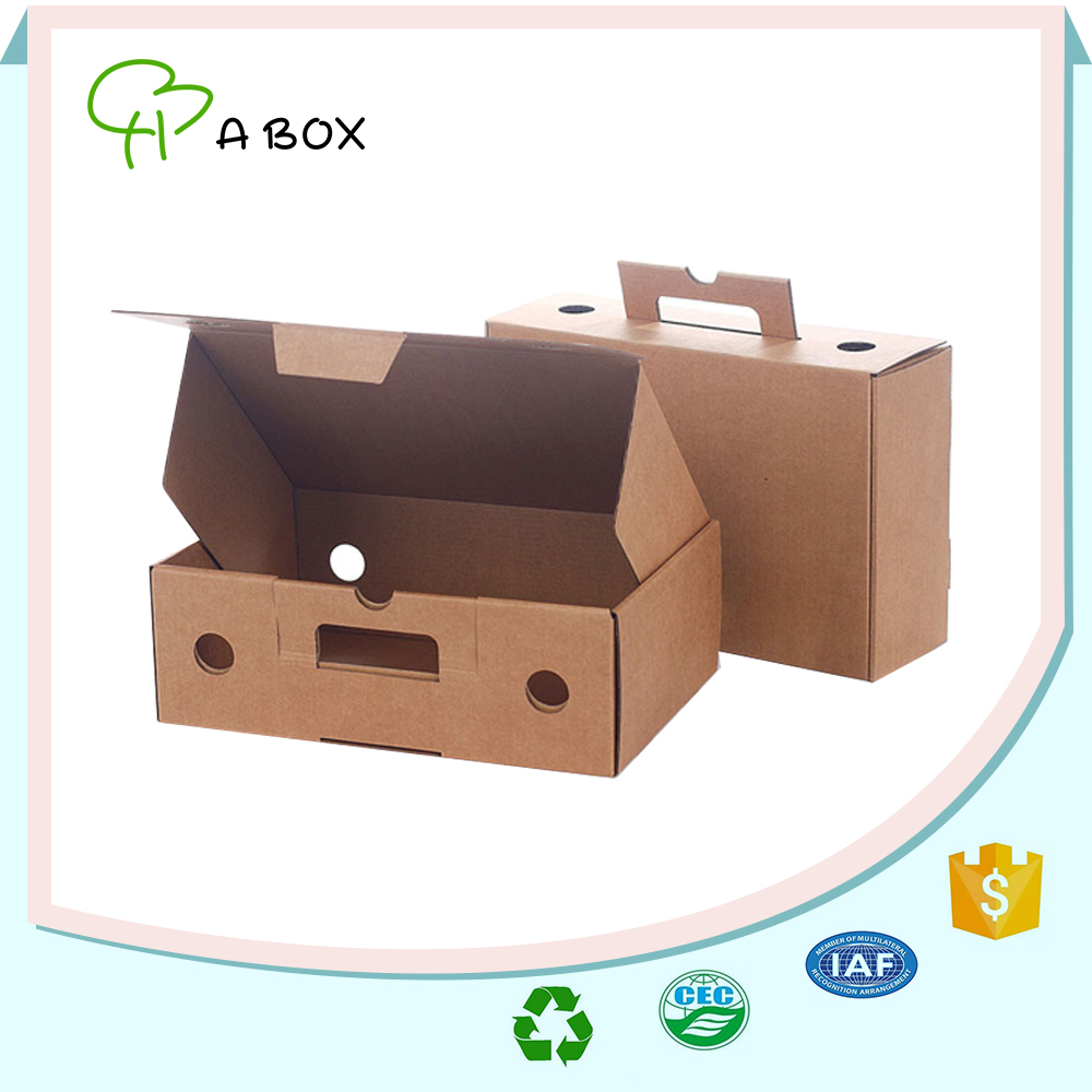 Hot sale solid color fruit carton box with carry handle