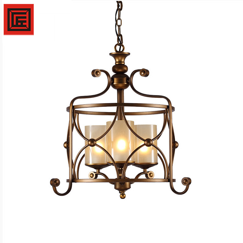 European french antique decoration copper glass chandelier lighting pendant lights