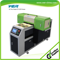 2016 hot selling WER a2 size dual heads uv inkjet printer for glass printing