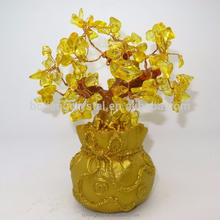 NATURAL Yellow Citrine Crytal Gem Money Tree in for wealth Money Bag
