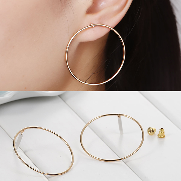 New Fashion Earrings Ear Studs Circle Ring Gold Plated W/ Stoppers 38mm x 13mm
