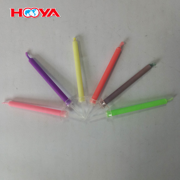 6 pcs e-co friendly colored flame birthday candles