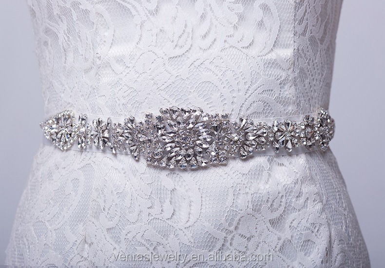 New Arrival Elegent Flower Style Crystal Bridal Sash Rhinestone Wedding Party Bride Bridesmaid Belt Dress Sash