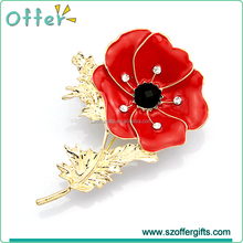 Crystal Diamante Pleated Pin Badge Poppy Brooch Pin