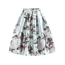 Summer Autumn Fashion Office Ladies Skirts High Waist Women Elegant Vintage Floral Printing Pleated Tutu Skater Skirt