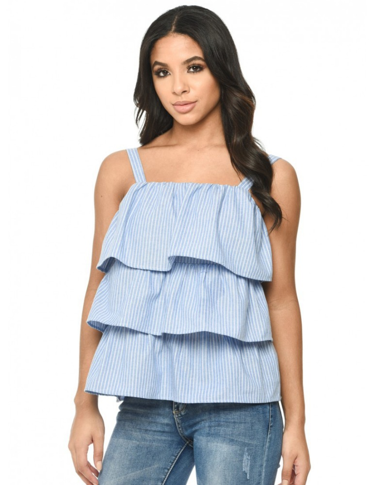 Simple and inexpensive women cutting sleeveless off shoulder blouse