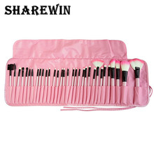 Hot sale makeup brush set 32 pieces make up in pouch wood handle brushes and blush high quality