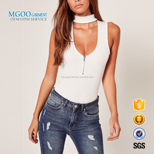 MGOO Garment Clothing Made Women Bodysuits Blouses White Cotton Spandex One Pieces Sleeveless Zip Up Blouse