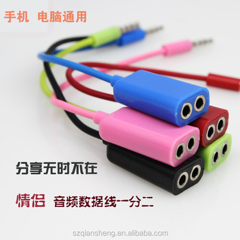 3.5mm stereo male to 2female jack music audio headphone earphone splitter for iphone