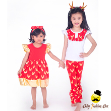 Model Girls Wear Red Deer Top And Ruffle Kids Clothing Sets Wholesale Christmas Childrens Boutique