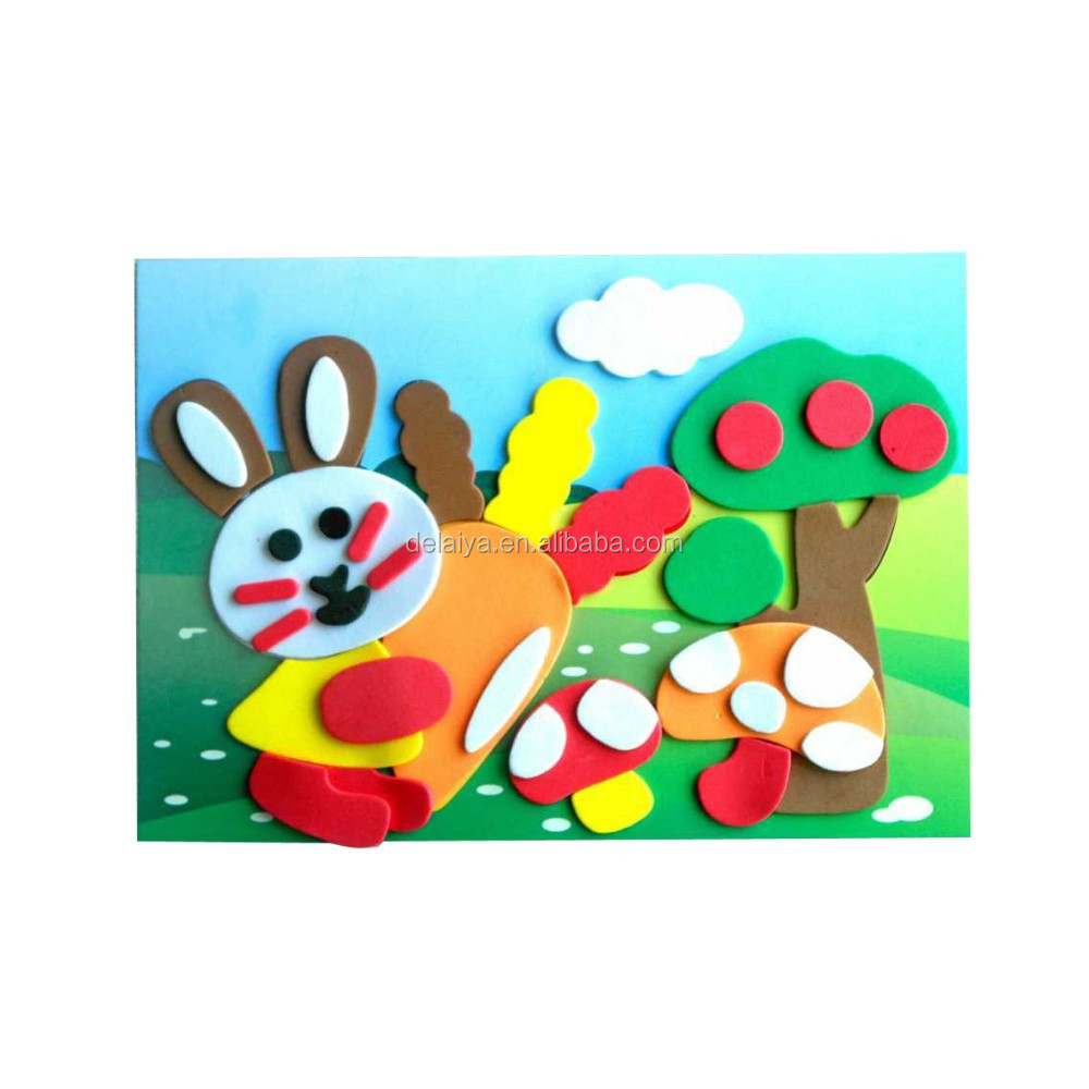 Educational toys EVA foam craft puzzle sticker kit for kids