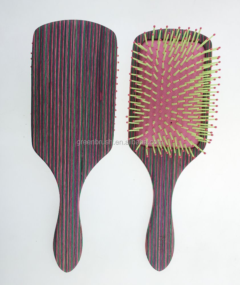 colorful wooden hair brush with boar & nylon bristles