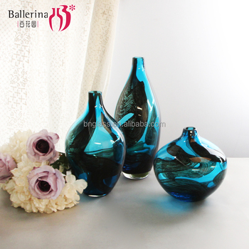 Ballerina home decor small round blue glass vases