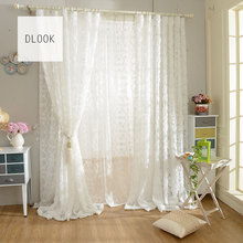 New design cheap polyester tulle white feather curtain for living room