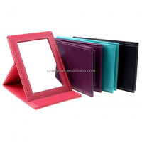 Portable Foldable Leather Mirror Women Beauty Make up Mirror Cosmetic Mirror