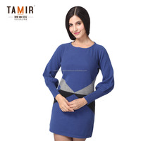 Cashmere Winter Long Sleeve Women Fancy Dress, Women Blue One-Piece Winter Dress