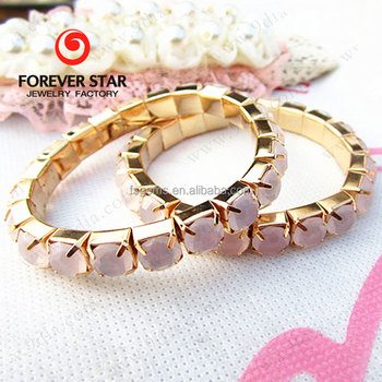 Fashion Jewelry Alloy Acrylic Prong Setting Bead Connected Stone Bracelet