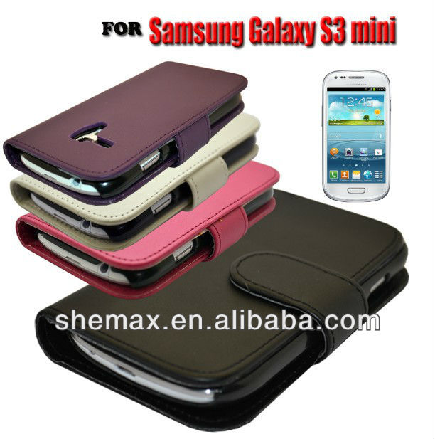 WALLET STYLE FLIP PHONE CASE COVER FOR SAMSUNG GALAXY S3 Mini i8190 mobile phone