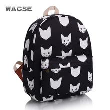 China factory cute cartoon cat black large capacity kids backpack