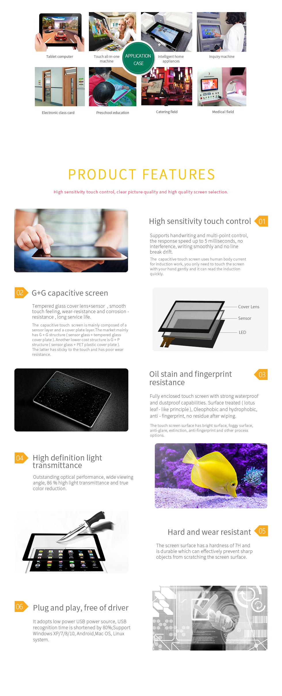[TMDtouch]Cheap 21.5 inch Capacitive Touch Screen,Capacitive Touch Glass+Glass Structure,Capacitive Touch Screen Panel