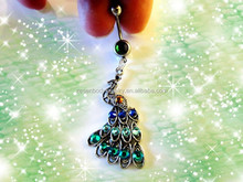 Exotic Turquoise Green & Blue Crystal Peacock Belly Button Ring Sexy Women Body Piercing Jewelry