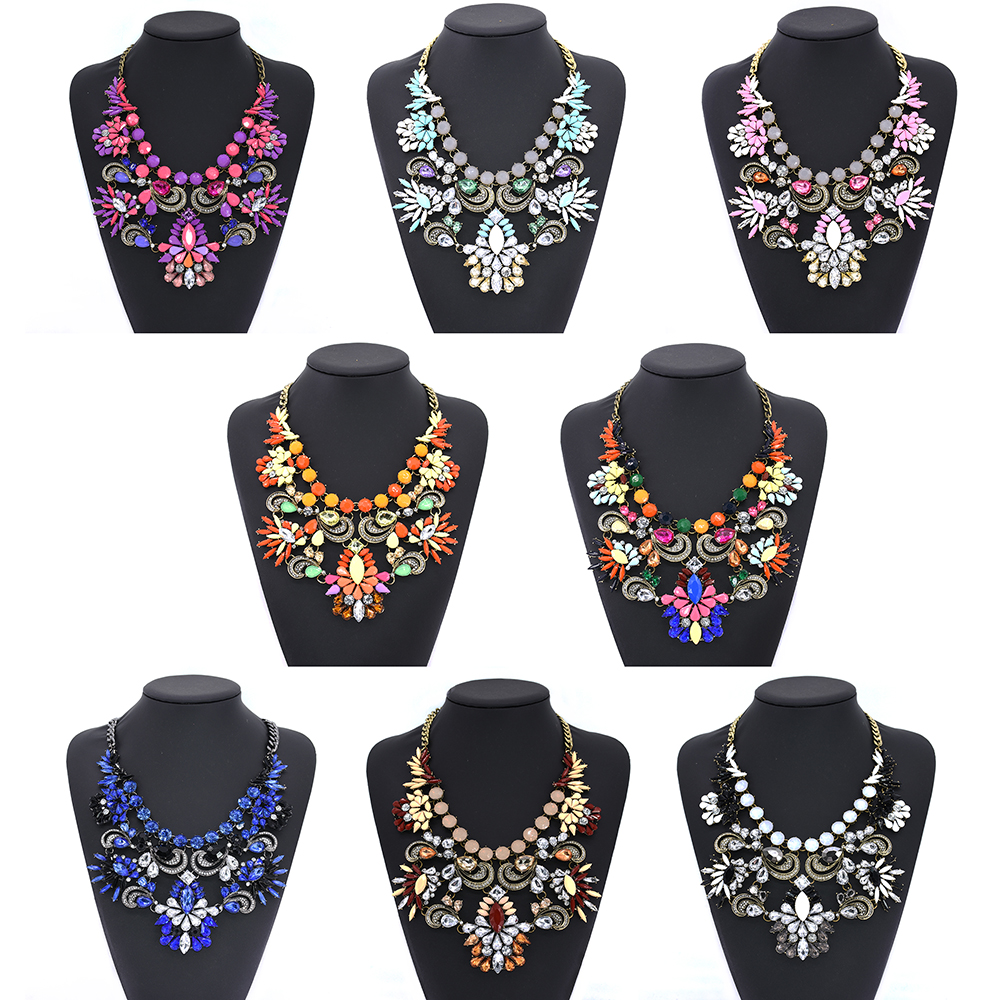 Yiwu Manufacturer Multicolor Gemstone Necklace Charm Jewelry Wholesale