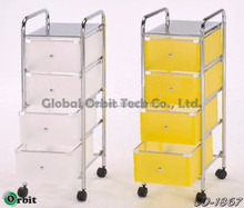 Colorful 4 tier plastic storage trolley with drawers, space saving storage cabinet