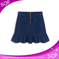 New summer casual denim skirt blue jeans pleated short skirts for women