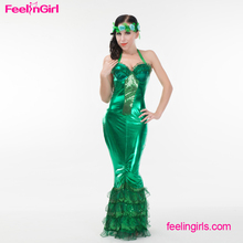 Fast Delivery Long Green Halter Dress Sexy Animal Adult Fish Costume