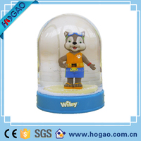 Flat shape crystal water ball insert resin animal snow water globe