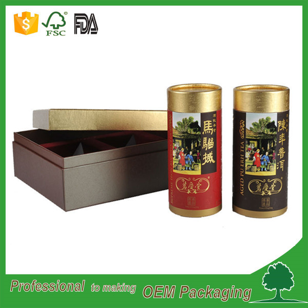 Cylindrical high quality cardboard paper tin packaging with gold color printing for tea cans packaging