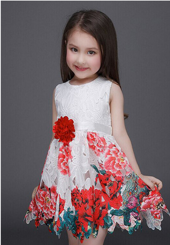 2016 spring and summer baby girls print dress European and American foreign trade high-grade princess dress skirt