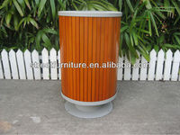 2014 hot-sale steel & wood round outdoor garbage bins used for sale