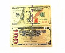 10Pcs/Lot Colorful USA Banknotes 100 Dollar Bills Bank Note in 24K Gold Plated Paper Money For <strong>Gifts</strong>