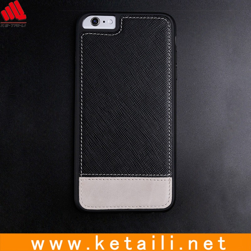 High Quality TPU + PC Cell Phone Case With Real Leather Plate On Backside